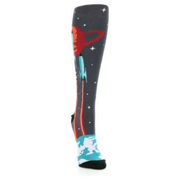 Image of Charcoal Teal Orange Spaceship Women's Knee High Sock (side-1-front-03)