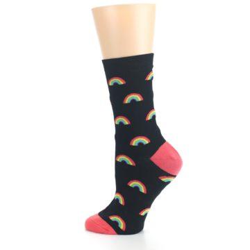 Image of Black Multicolor Rainbows Women's Dress Sock (side-2-13)