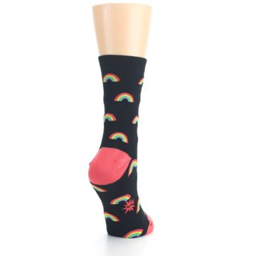 Image of Black Multicolor Rainbows Women's Dress Sock (side-1-back-21)
