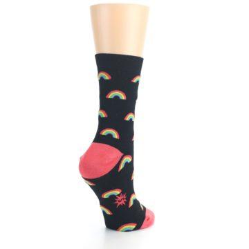 Image of Black Multicolor Rainbows Women's Dress Sock (side-1-back-22)