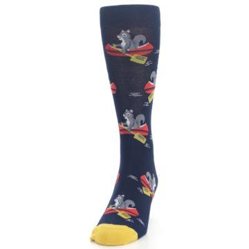 Image of Navy Gold Squirrel Paddling Canoe Men's Dress Socks (side-2-front-06)