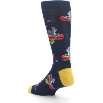 Image of Navy Gold Squirrel Paddling Canoe Men's Dress Socks (side-2-back-15)