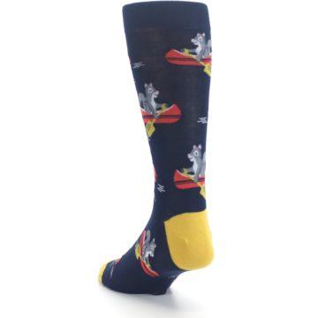 Image of Navy Gold Squirrel Paddling Canoe Men's Dress Socks (side-2-back-16)