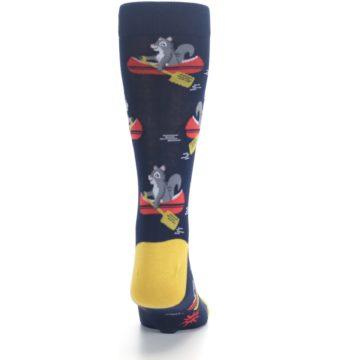 Image of Navy Gold Squirrel Paddling Canoe Men's Dress Socks (back-19)