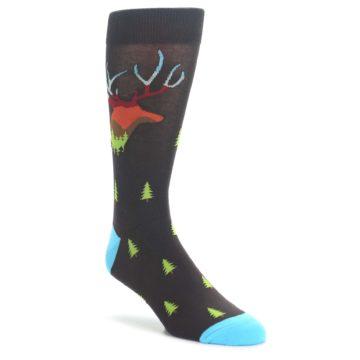 Brown-Multicolor-Deer-Antlers-Trees-Mens-Dress-Socks-Sock-It-To-Me