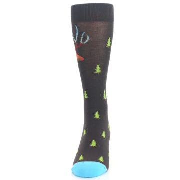 Image of Brown Multicolor Deer Antlers Trees Men's Dress Socks (front-05)