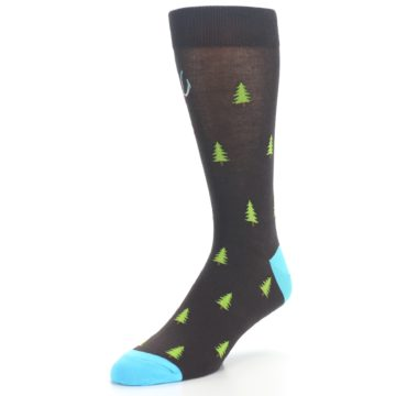 Image of Brown Multicolor Deer Antlers Trees Men's Dress Socks (side-2-front-08)