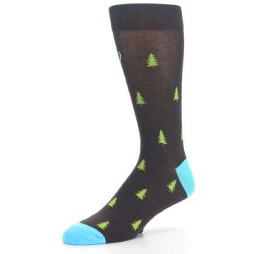 Image of Brown Multicolor Deer Antlers Trees Men's Dress Socks (side-2-09)
