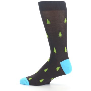 Image of Brown Multicolor Deer Antlers Trees Men's Dress Socks (side-2-12)