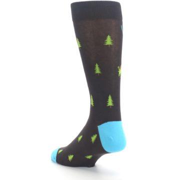 Image of Brown Multicolor Deer Antlers Trees Men's Dress Socks (side-2-back-15)