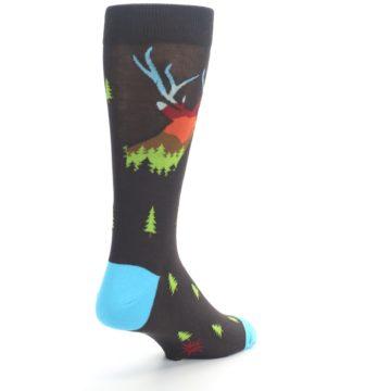 Image of Brown Multicolor Deer Antlers Trees Men's Dress Socks (side-1-back-21)
