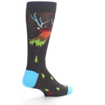 Image of Brown Multicolor Deer Antlers Trees Men's Dress Socks (side-1-back-22)
