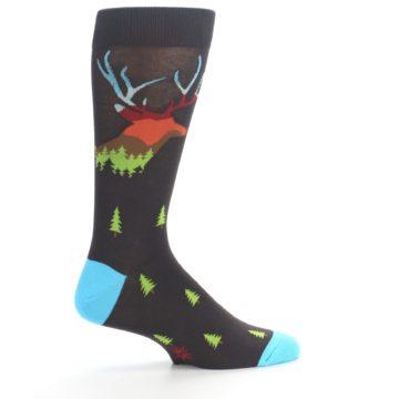 Image of Brown Multicolor Deer Antlers Trees Men's Dress Socks (side-1-24)