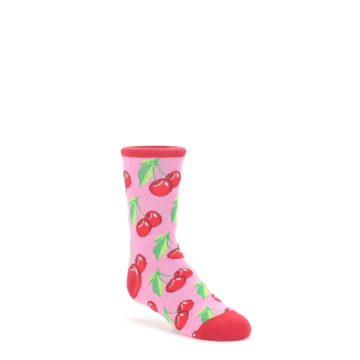 7-10Y-Pink-Red-Cherries-Kids-Dress-Socks-Socksmith