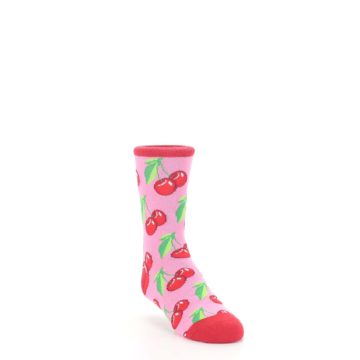 Image of Pink Red Cherries Kid's Dress Socks (side-1-front-02)