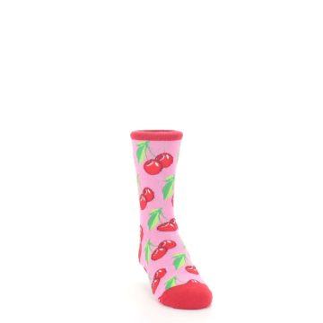 Image of Pink Red Cherries Kid's Dress Socks (side-1-front-03)