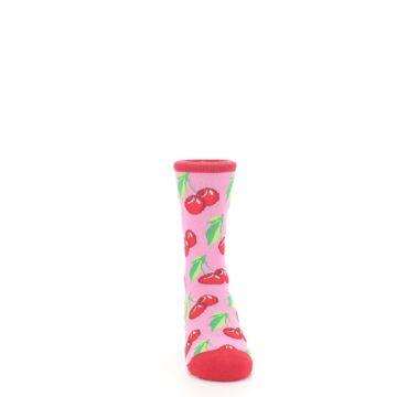 Image of Pink Red Cherries Kid's Dress Socks (front-04)
