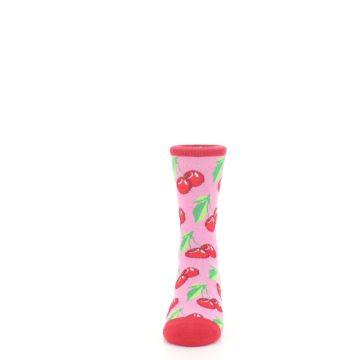 Image of Pink Red Cherries Kid's Dress Socks (front-05)