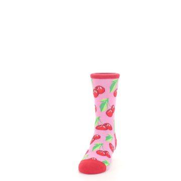 Image of Pink Red Cherries Kid's Dress Socks (side-2-front-06)