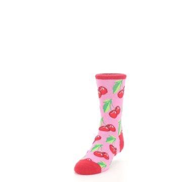 Image of Pink Red Cherries Kid's Dress Socks (side-2-front-07)
