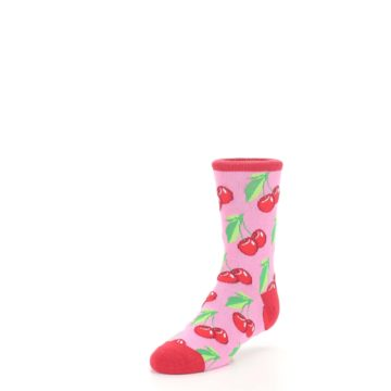 Image of Pink Red Cherries Kid's Dress Socks (side-2-front-08)