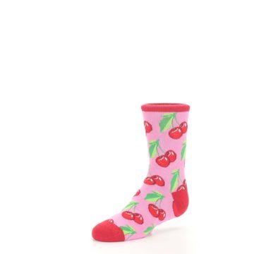 Image of Pink Red Cherries Kid's Dress Socks (side-2-09)
