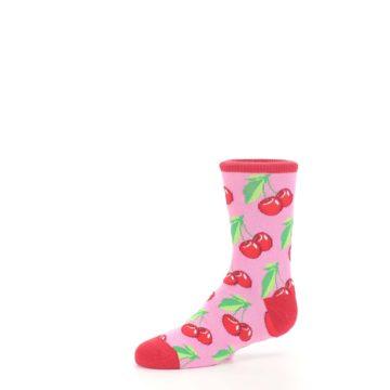 Image of Pink Red Cherries Kid's Dress Socks (side-2-10)