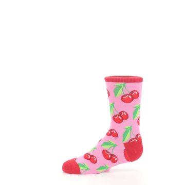 Image of Pink Red Cherries Kid's Dress Socks (side-2-11)