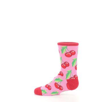 Image of Pink Red Cherries Kid's Dress Socks (side-2-12)