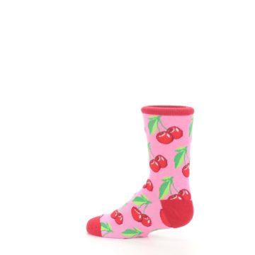 Image of Pink Red Cherries Kid's Dress Socks (side-2-13)