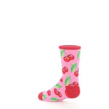 Image of Pink Red Cherries Kid's Dress Socks (side-2-back-14)