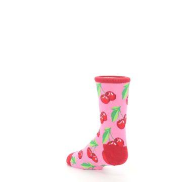 Image of Pink Red Cherries Kid's Dress Socks (side-2-back-15)