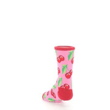 Image of Pink Red Cherries Kid's Dress Socks (side-2-back-16)