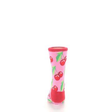 Image of Pink Red Cherries Kid's Dress Socks (back-18)