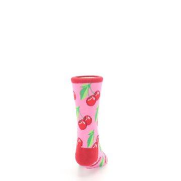 Image of Pink Red Cherries Kid's Dress Socks (back-19)