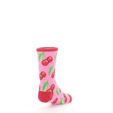 Image of Pink Red Cherries Kid's Dress Socks (side-1-back-21)