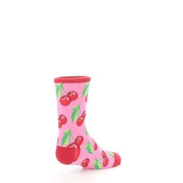Image of Pink Red Cherries Kid's Dress Socks (side-1-back-22)