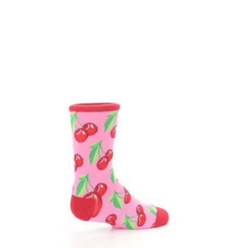 Image of Pink Red Cherries Kid's Dress Socks (side-1-23)