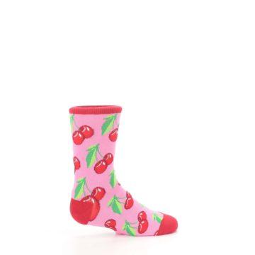 Image of Pink Red Cherries Kid's Dress Socks (side-1-24)