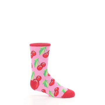 Image of Pink Red Cherries Kid's Dress Socks (side-1-25)