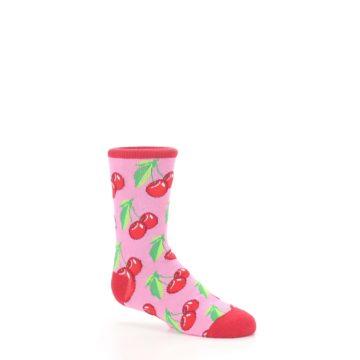 Image of Pink Red Cherries Kid's Dress Socks (side-1-26)