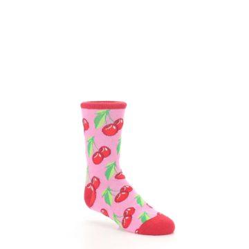 Image of Pink Red Cherries Kid's Dress Socks (side-1-27)