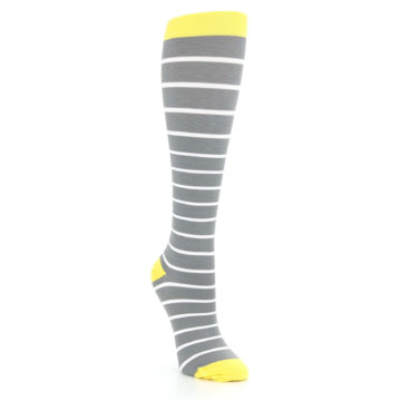 Image of Gray Yellow White Stripes Women's Compression Dress Socks (side-1-front-02)