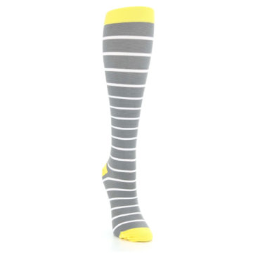 Image of Gray Yellow White Stripes Women's Compression Dress Socks (side-1-front-03)