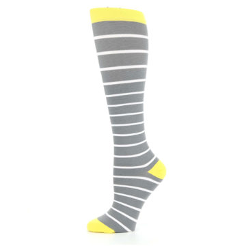 Image of Gray Yellow White Stripes Women's Compression Dress Socks (side-2-11)