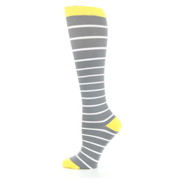 Image of Gray Yellow White Stripes Women's Compression Dress Socks (side-2-12)