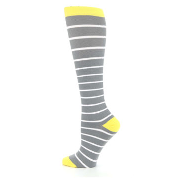 Image of Gray Yellow White Stripes Women's Compression Dress Socks (side-2-13)