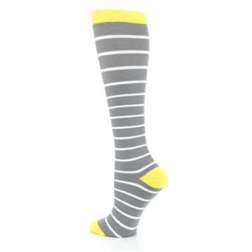 Image of Gray Yellow White Stripes Women's Compression Dress Socks (side-2-back-14)