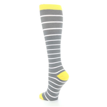 Image of Gray Yellow White Stripes Women's Compression Dress Socks (side-2-back-15)