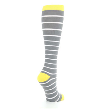 Image of Gray Yellow White Stripes Women's Compression Dress Socks (side-1-back-22)